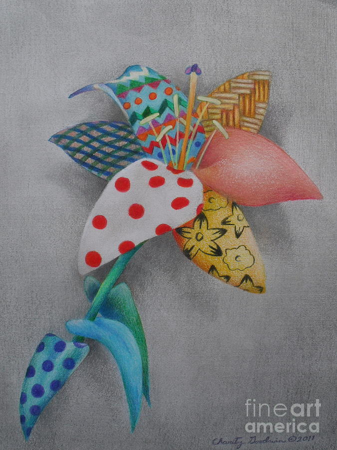 Fabric Lily Drawing  - Fabric Lily Fine Art Print