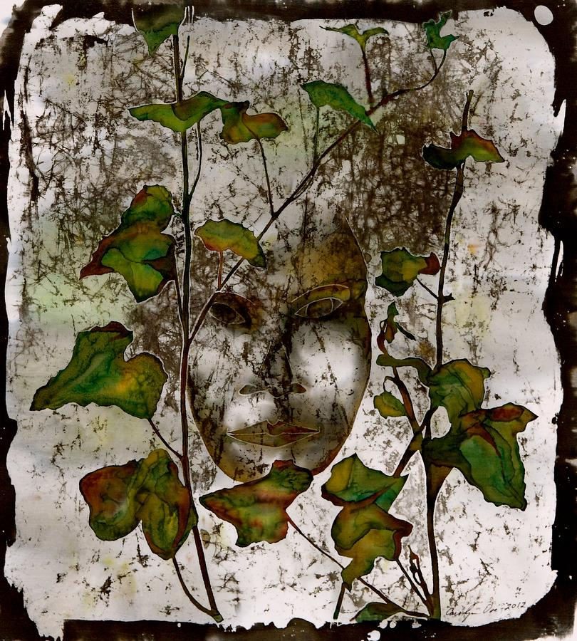 Face In The Garden Tapestry - Textile