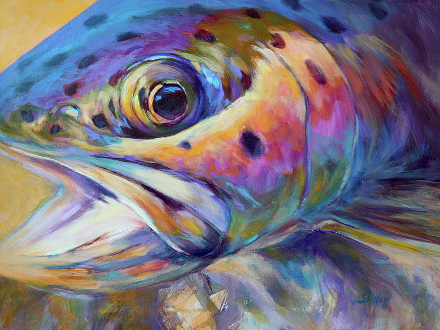 Face Of A Rainbow- Rainbow Trout Portrait Painting