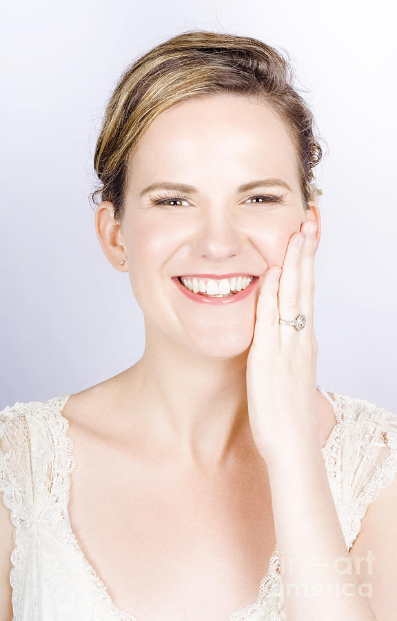 Face Of A Smiling Bride With Perfect Makeup Photograph