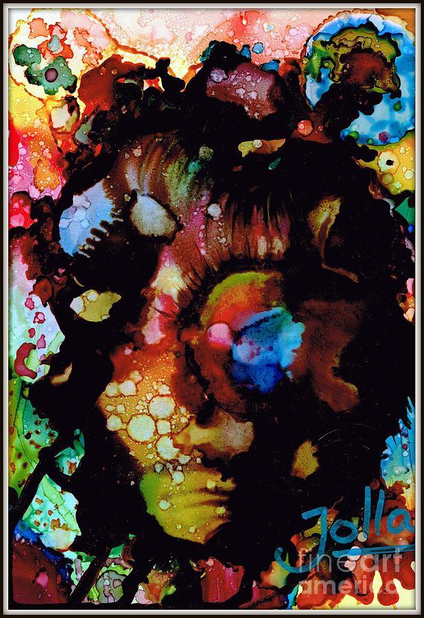 Alcohol Ink Painting - Face To Face.. by Jolanta Anna Karolska