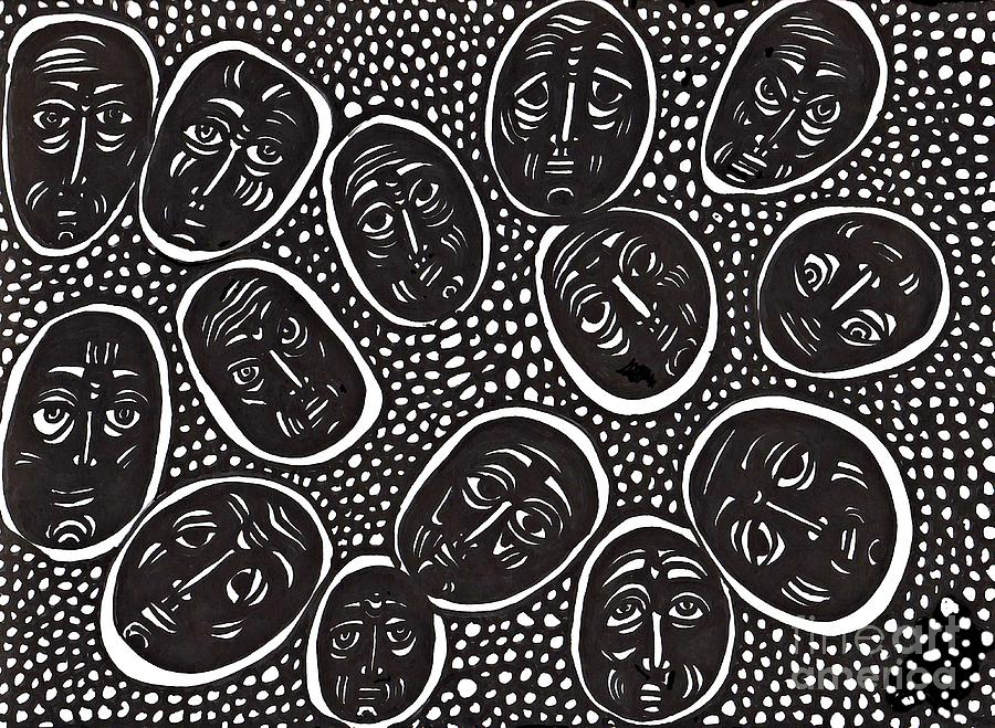 Faces In Stone Drawing  - Faces In Stone Fine Art Print