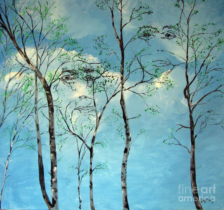 Faces In The Trees Painting  - Faces In The Trees Fine Art Print