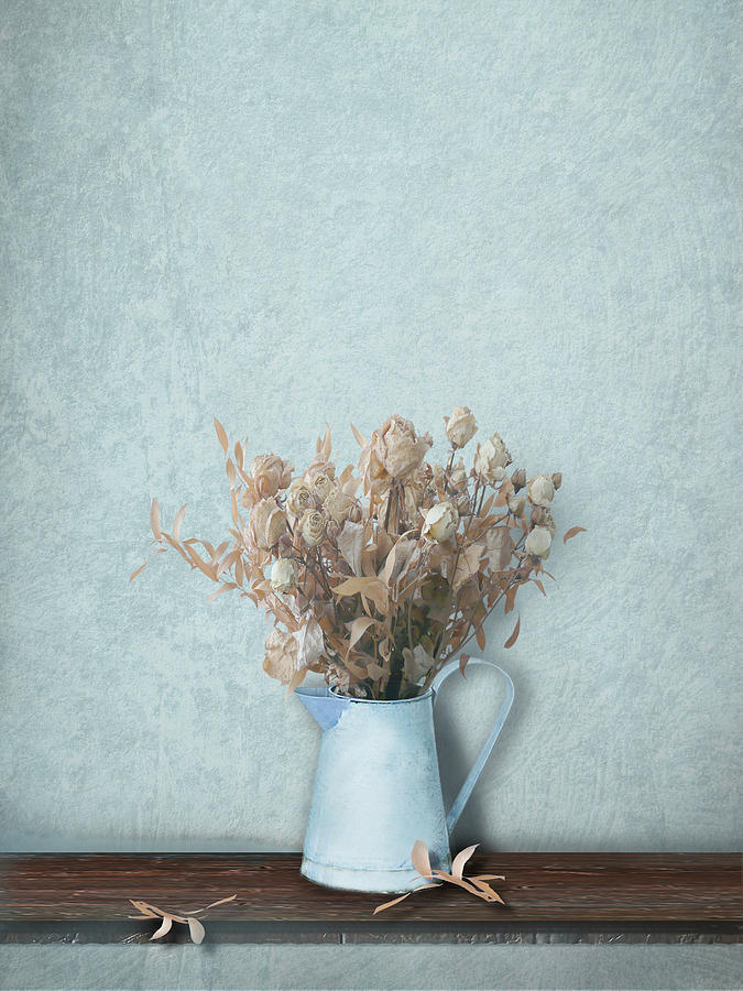 Faded Bouquet In Blue Photograph