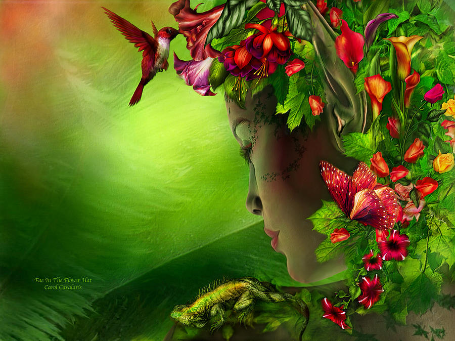 Fae In The Flower Hat Mixed Media  - Fae In The Flower Hat Fine Art Print