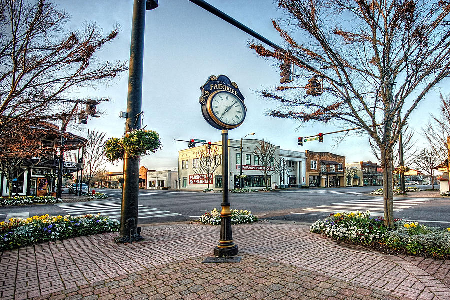 Alabama Photograph - Fairhope Clock And 4 Corners by Michael Thomas