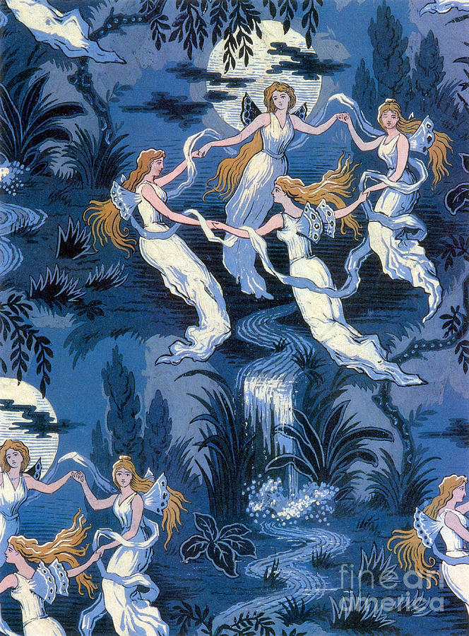 Fairies In The Moonlight French Textile Photograph