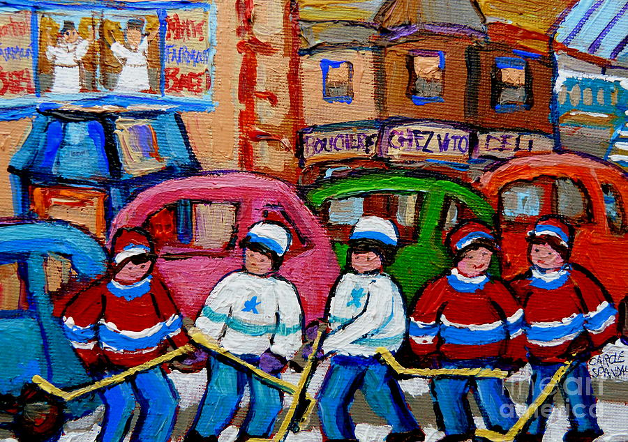 Fairmount Bagel Street Hockey Game Painting  - Fairmount Bagel Street Hockey Game Fine Art Print