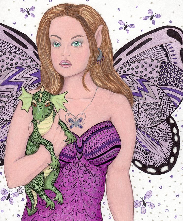 Fairy And Her New Friend -- The Baby Dragon Drawing  - Fairy And Her New Friend -- The Baby Dragon Fine Art Print