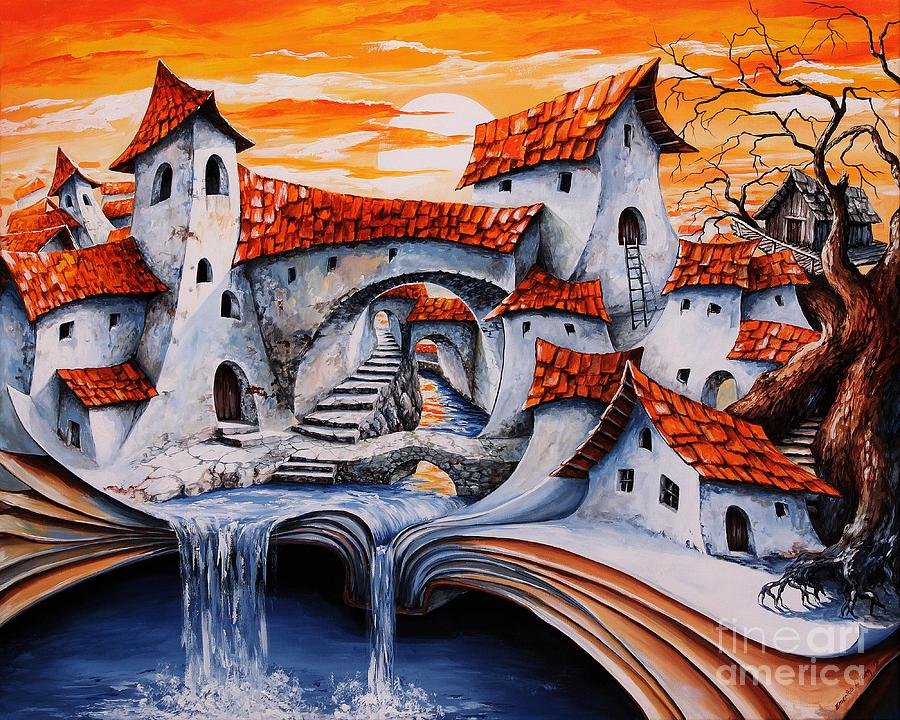Tale City Painting - Fairy Tale City - Magic Stream by Emerico Imre Toth