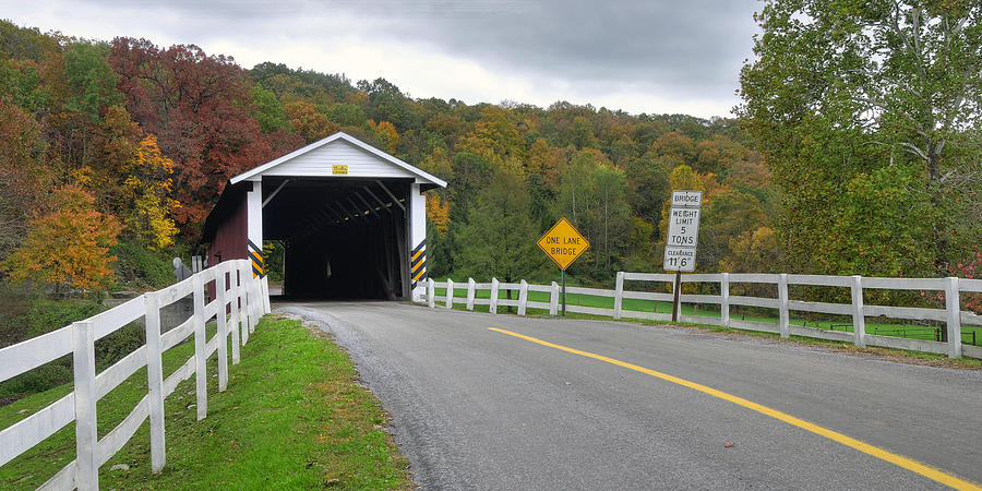 Fall At The Jacksons Mill Covered Bridge Photograph