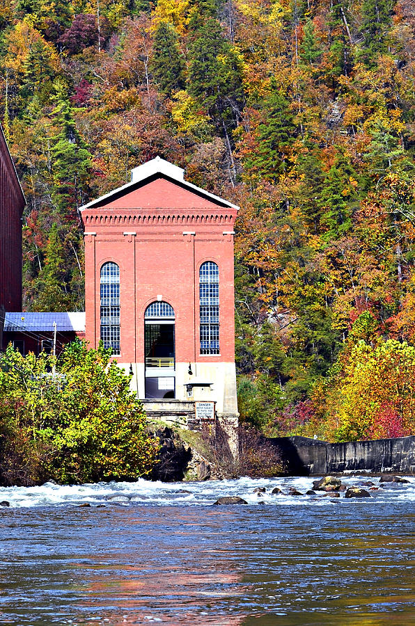 Seasonal; Beautiful; River; Archchitecture; Workplace; Fall; Power; House; Power Plant; Hydro; Electric; Electricity; Control; Powerhouse; Building; Old; Color; Tallulah; Flowing; Autumn; Travel; Beauty; Vibrant; Georgia; North; Bright; Tugaloo; Rabun; Usa; Season; Water; Landscape; Specific; Colourful; Flow; Colour; Tugalo; Gorge; Nature; Vivid; Mountains; Colorful; Natural Photograph - Fall At Tugalo by Susan Leggett