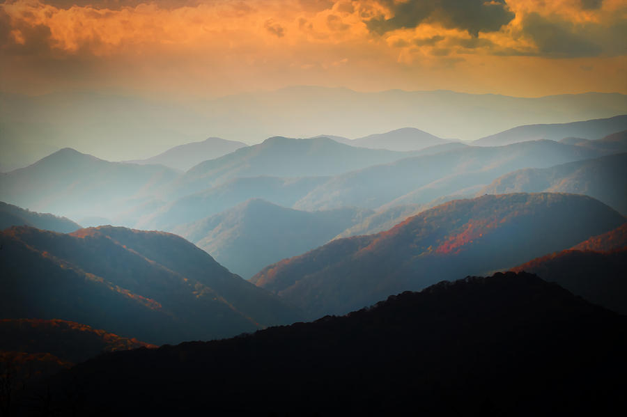 Fall Foliage Ridgelines Great Smoky Mountains Painted