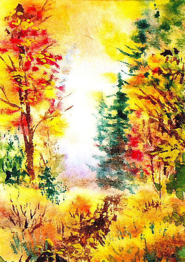 Fall Painting - Fall Forest by Irina Sztukowski