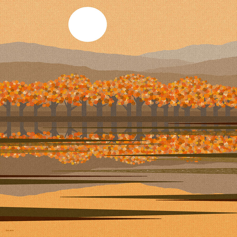 Fall Riverbank Digital Art