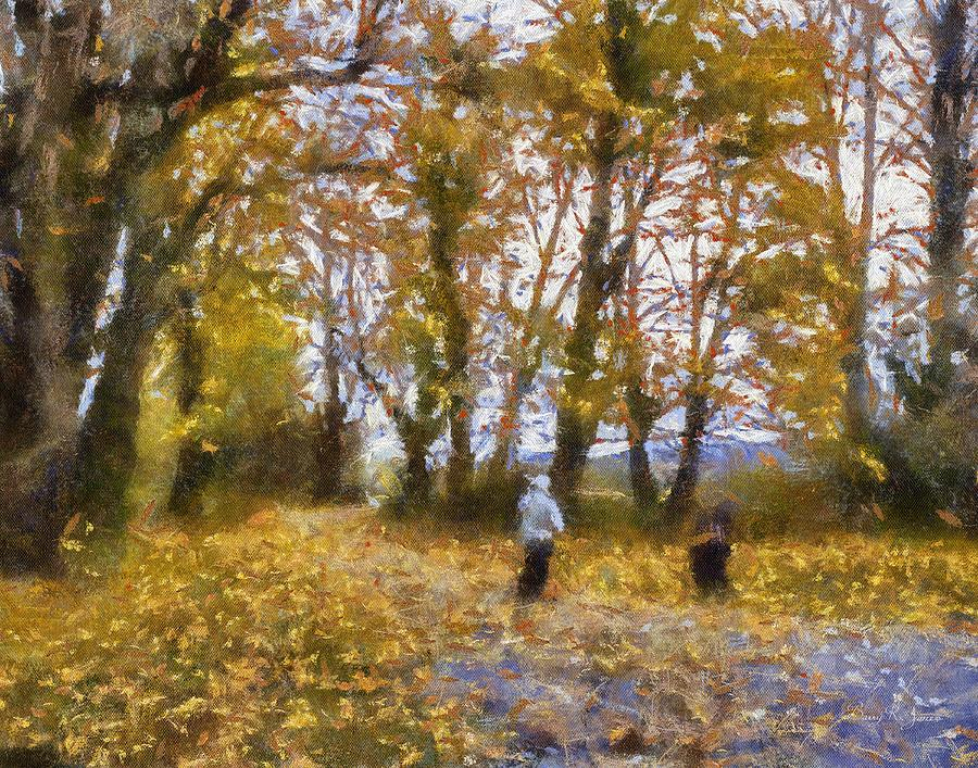 Digital Painting Painting - Fall Stroll by Barry Jones