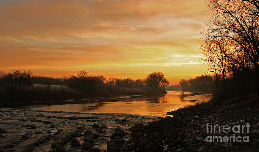 Fall Sunrise On The Red River Photograph