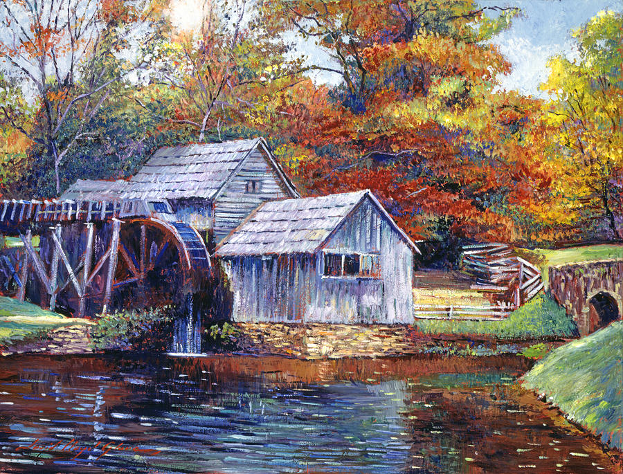 falling water mill house painting by david lloyd glover