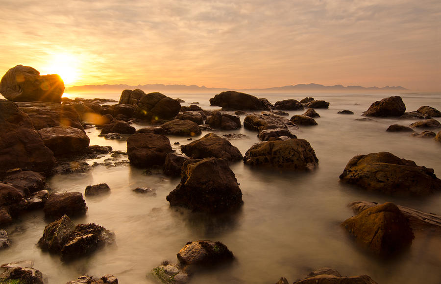 Ocean Photograph - False Bay Sunrise by Aaron S Bedell