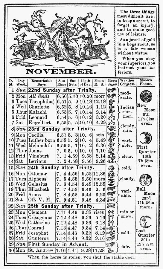 Family Almanac, 1874 Photograph