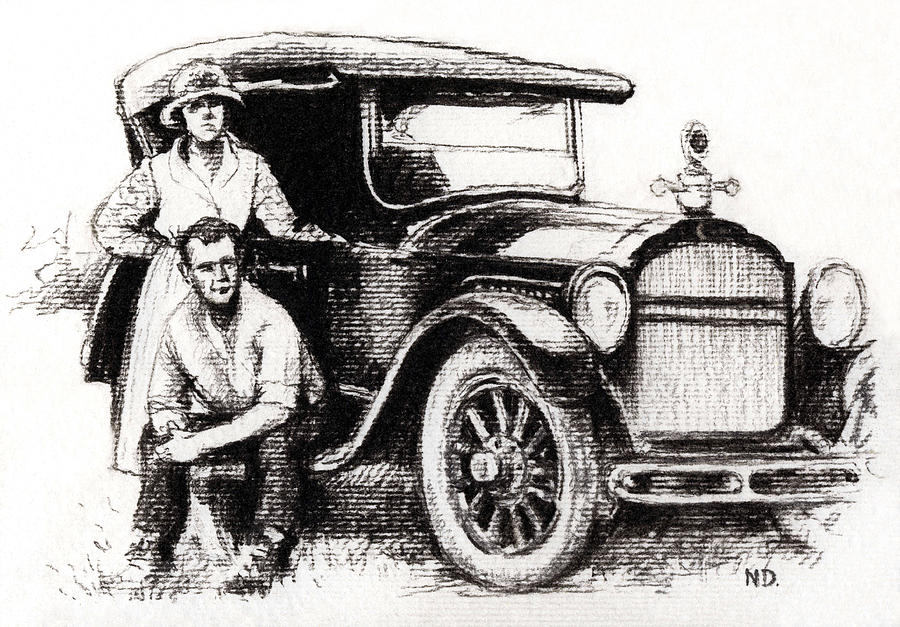 Family Car Drawing  - Family Car Fine Art Print