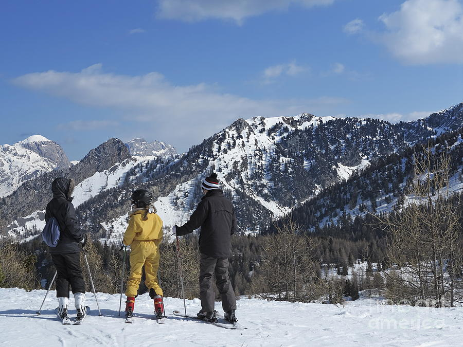 Family On Ski Contemplating Mountains Photograph  - Family On Ski Contemplating Mountains Fine Art Print