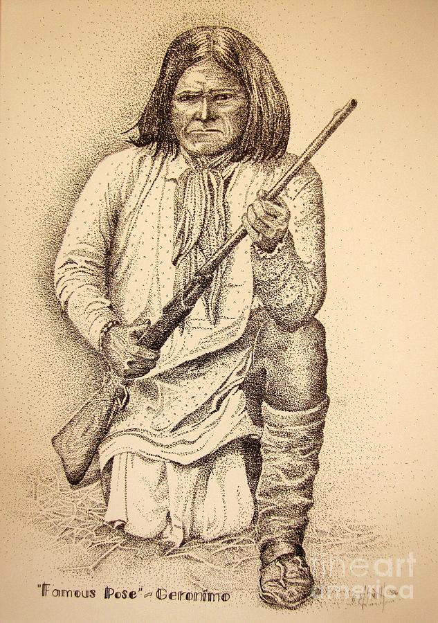 Famous Pose - Geronimo Drawing  - Famous Pose - Geronimo Fine Art Print