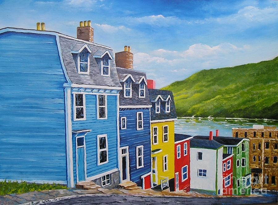 Famous row houses st john 39 s n l painting by scott white for House plans newfoundland