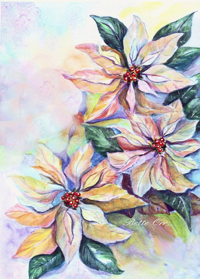 Fanciful Poinsettias Painting  - Fanciful Poinsettias Fine Art Print