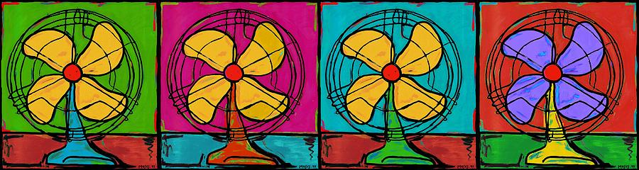 Fans In A Row Painting  - Fans In A Row Fine Art Print