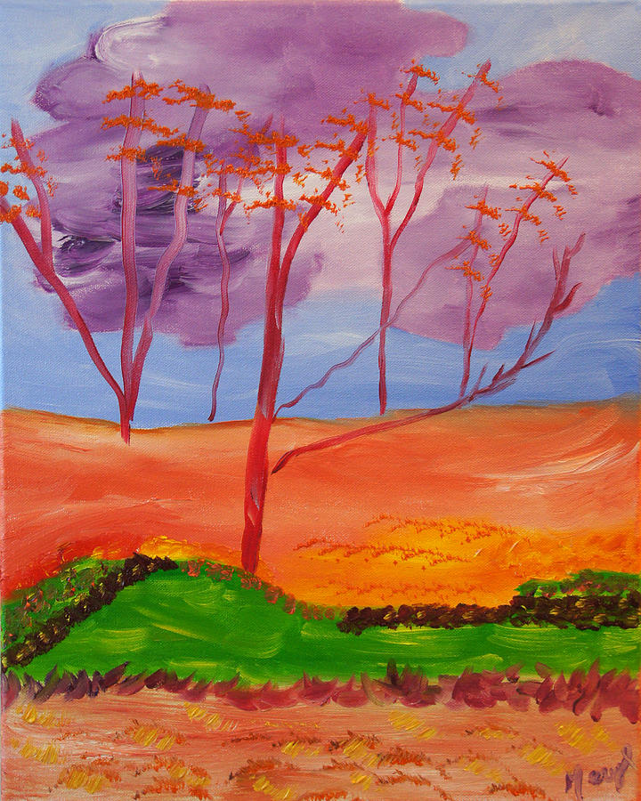 Fantasy Of Clouded Red Trees Painting