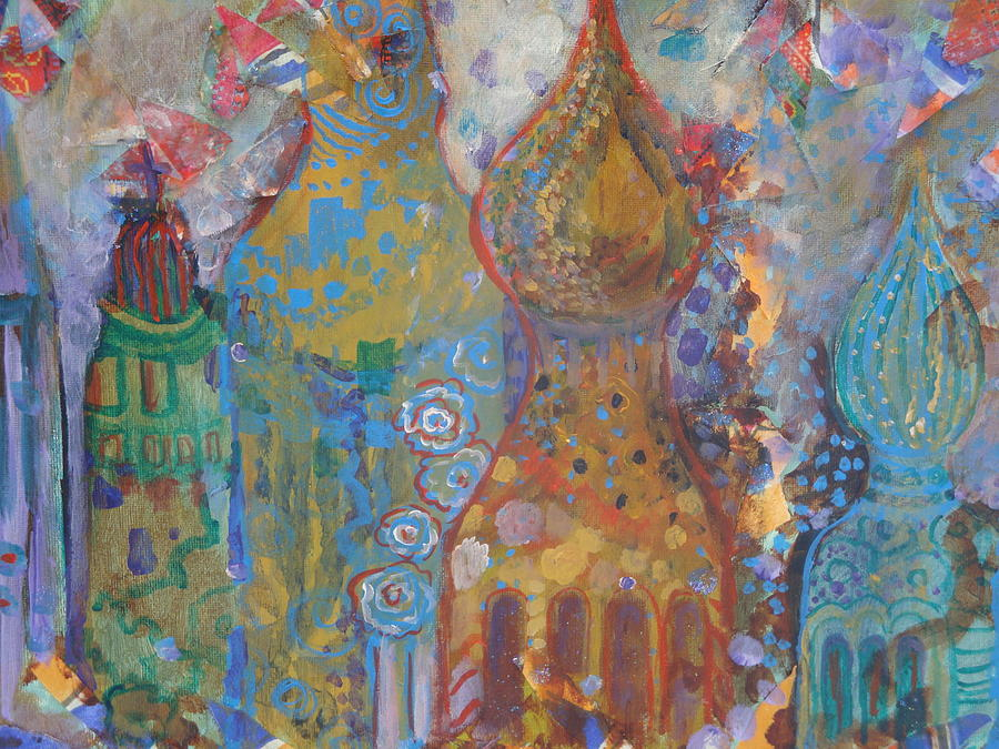 Onion Domes. Fantasy Buildings Painting - Fantasy Square by Norma Malerich