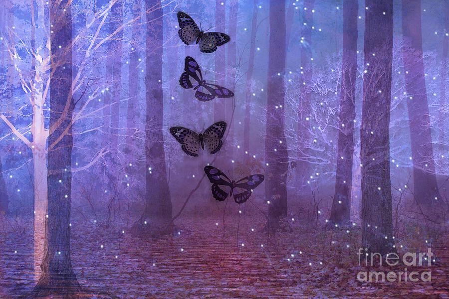 Fantasy butterflies purple - photo#15