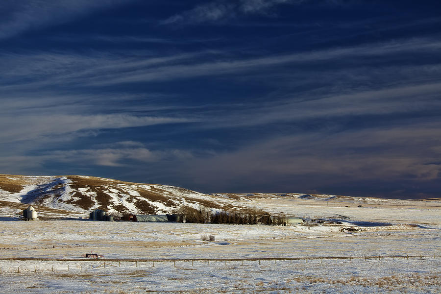 Farm At Bottom Of Hill In Winter Photograph  - Farm At Bottom Of Hill In Winter Fine Art Print
