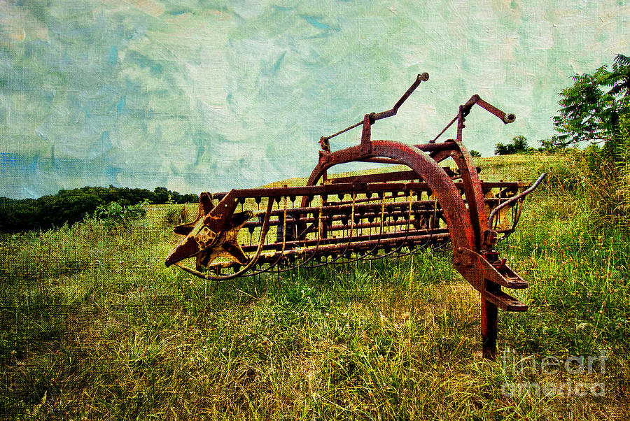 Farm Equipment In A Field Digital Art  - Farm Equipment In A Field Fine Art Print