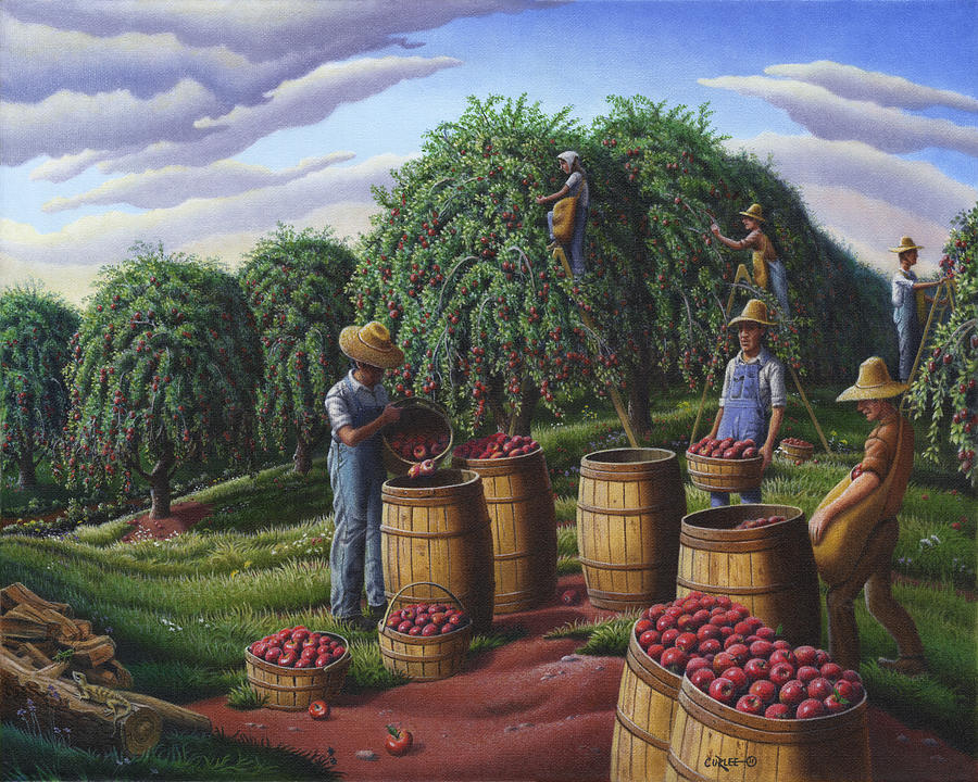 Farm Folk Art Landscape Autumn Apple Harvest  Fairy Tale Fantasy Rural Fall Country Americana Life Painting  - Farm Folk Art Landscape Autumn Apple Harvest  Fairy Tale Fantasy Rural Fall Country Americana Life Fine Art Print