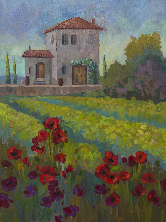 Farm In Sienna Painting