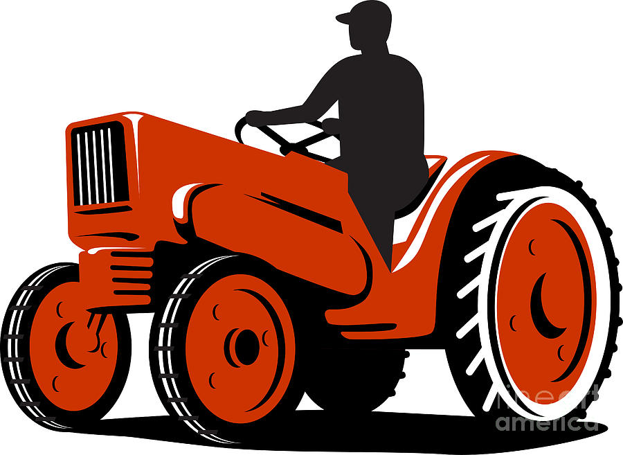 Farmer Driving Vintage Tractor Retro Digital Art  - Farmer Driving Vintage Tractor Retro Fine Art Print