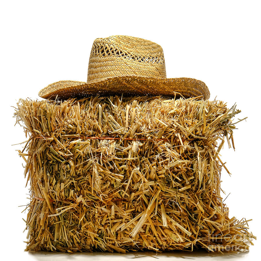 Farmer Hat On Hay Bale Photograph
