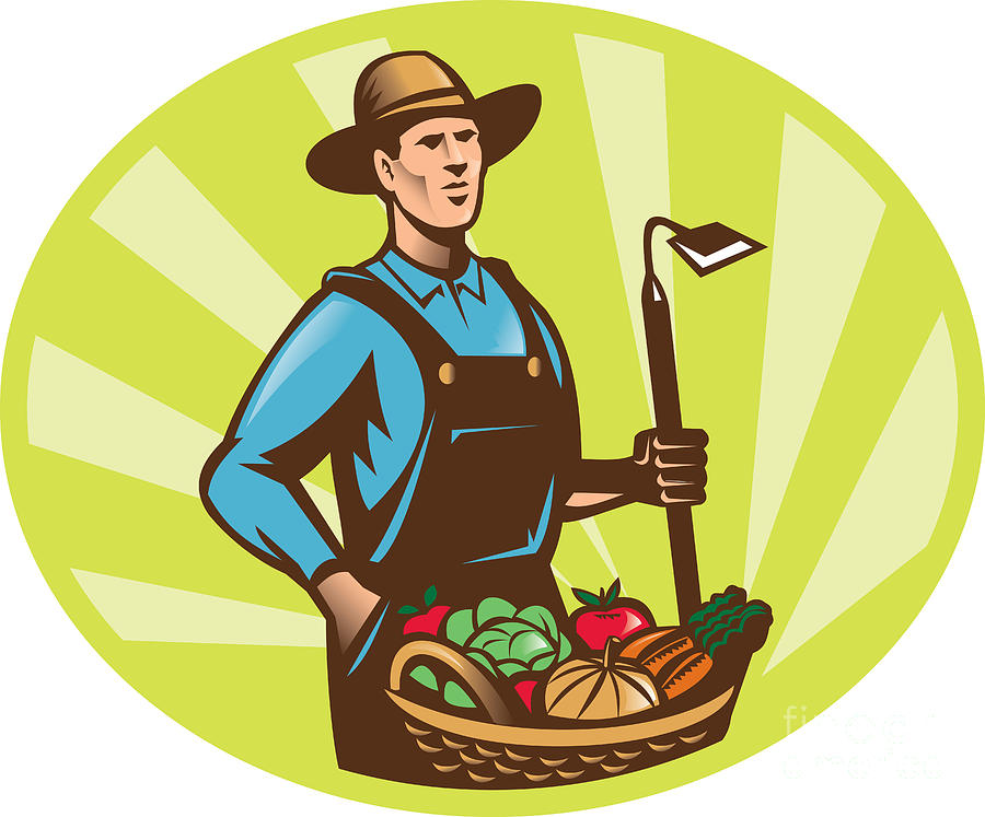 Farmer With Garden Hoe And Basket Crop Harvest Digital Art  - Farmer With Garden Hoe And Basket Crop Harvest Fine Art Print