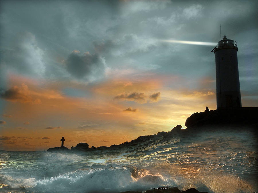`seascape Photograph - Faro En Mar Bravo by Alfonso Garcia