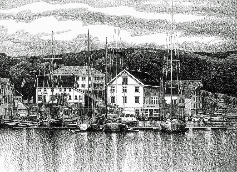 Farsund Dock Scene Pen And Ink Drawing  - Farsund Dock Scene Pen And Ink Fine Art Print
