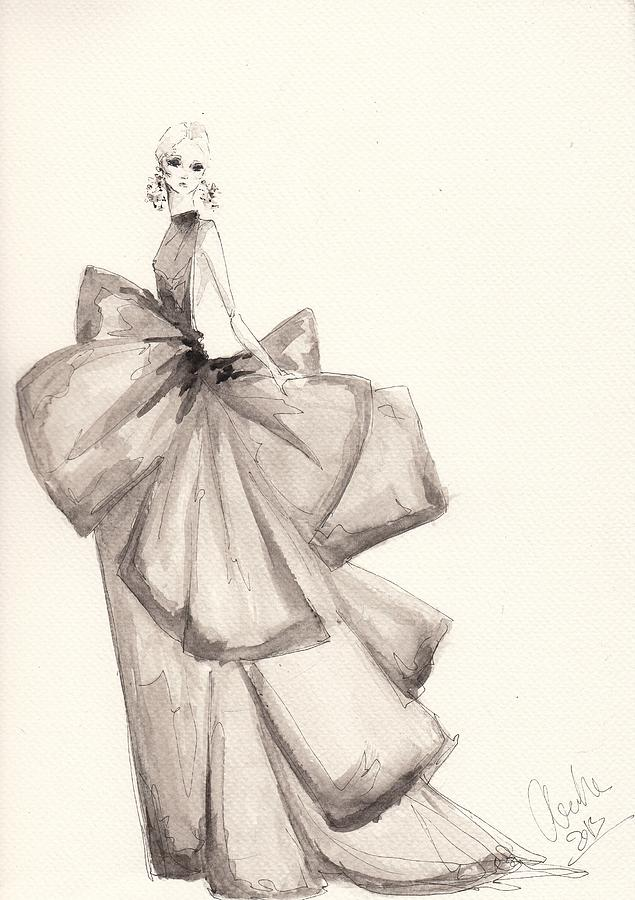 Fashion Art Bow Dress Illustration Drawing By Alex Newton