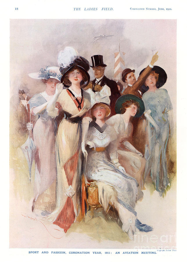 Fashion At Ascot Races 1911 1910s Uk Cc Drawing  - Fashion At Ascot Races 1911 1910s Uk Cc Fine Art Print