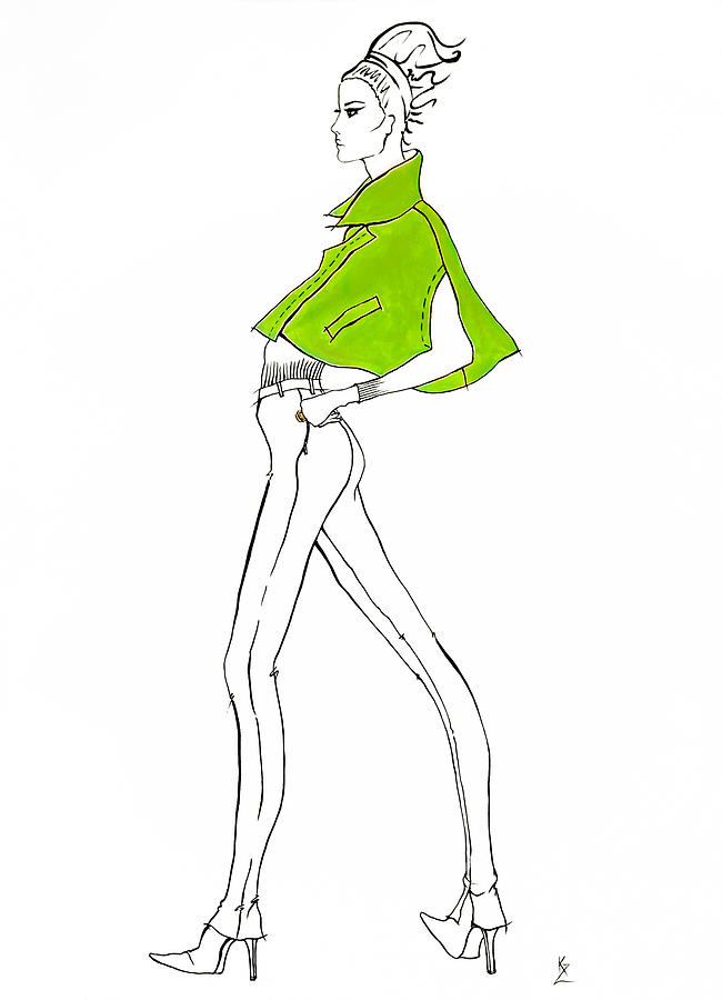 fashion illustration fashion model in lime green cape with