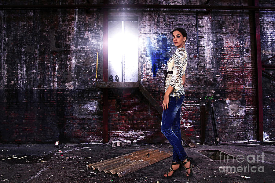 Fashion Model In Jeans  Photograph