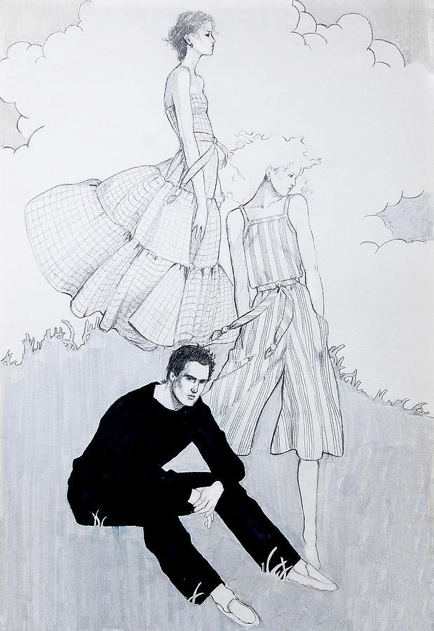 Fashion Illustration Drawing - Fashion On A Hill by Sarah Parks