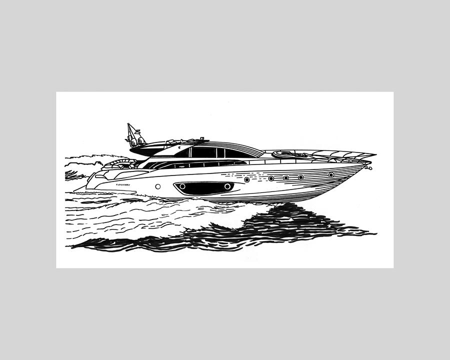 Ink Drawings  By Jack Pumphrey Of Yacht Drawing - Fast Riva Motoryacht by Jack Pumphrey