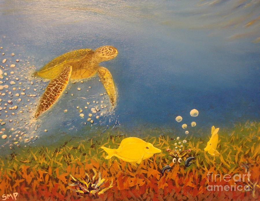 Fast swimming sea turtle approaching yellow tang fish and for What is the fastest swimming fish