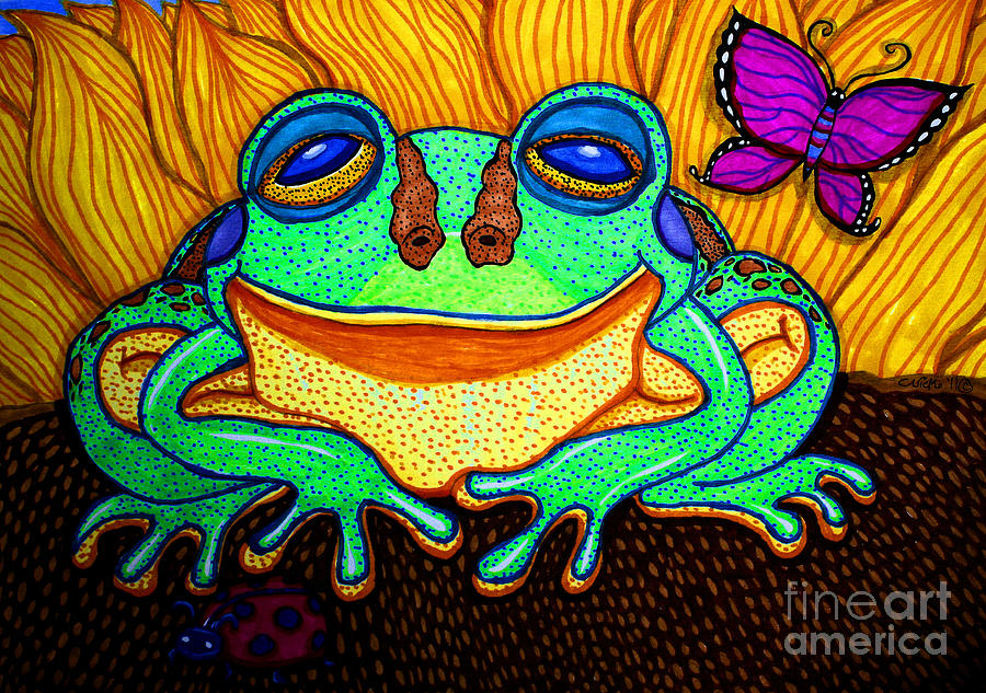 Fat Green Frog On A Sunflower Drawing  - Fat Green Frog On A Sunflower Fine Art Print